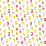Cute hand drawn numbers seamless vector pattern. Colorful mathematical background. Sweet texture for prints and textile design Stock Photo