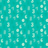 Cute hand drawn numbers seamless vector pattern. Green and blue mathematical background. Sweet texture for prints and textile design Stock Photography