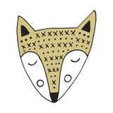 Cute hand drawn nursery poster with fox in scandinavian style. Color  illustration.  Royalty Free Stock Photo