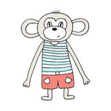 Cute hand drawn nursery poster with monkey in scandinavian style. Color  illustration.  Stock Images