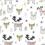 Cute hand drawn nursery seamless pattern with wild animals in scandinavian style. Vector illustration Stock Images