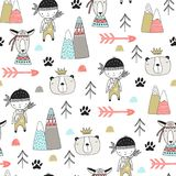 Cute hand drawn nursery seamless pattern with wild animals in scandinavian style. Vector illustration Royalty Free Stock Photos