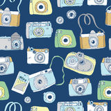 Cute hand drawn old and new cameras.  Best summer memories. Stock Photos