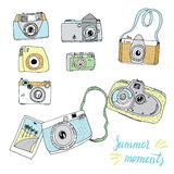 Cute hand drawn old and new cameras.  Best summer memories. Stock Photo