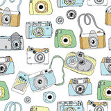 Cute hand drawn old and new cameras.  Best summer memories. Stock Photography