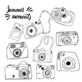 Cute hand drawn old and new cameras.  Best summer memories. Stock Image