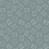 Cute hand drawn outline envelopes pattern. Seamless post office mail texture. For textile, wrapping paper, banners, covers, surface Stock Photos