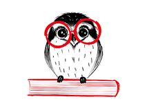 Cute hand drawn owl with red glass sitting on book Royalty Free Stock Image