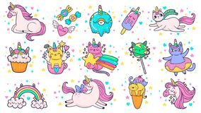 Cute hand drawn patches. Magic fairytale pony unicorn, fabulous cat and sweet candy stickers cartoon vector illustration