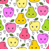 Cute hand drawn pear and apple seamless pattern. Sweet food vector background. Delicious summer design. Wrapping, print Stock Photos
