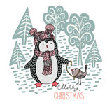 Cute hand drawn penguin with a little bird on a leash in the winter forest. Merry Christmas greetings Royalty Free Stock Photo