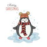 Cute hand drawn penguin Stock Image