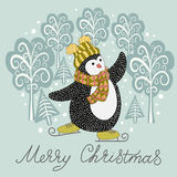 Cute hand drawn penguin on skates Stock Photography