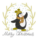 Cute hand drawn penguin on skates Stock Images