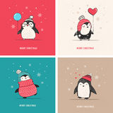 Cute hand drawn penguins set - Merry Christmas greetings Royalty Free Stock Photography