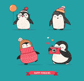 Cute hand drawn penguins set - Merry Christmas greetings Stock Images