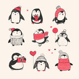 Cute hand drawn penguins set -  Merry Christmas Stock Photo