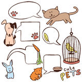 Cute hand drawn pets and speech bubbles. Set of cute hand drawn pets and speech bubbles vector illustration