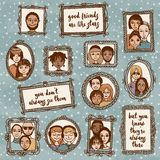 Cute hand drawn picture frames with people and inspirational quote Royalty Free Stock Image