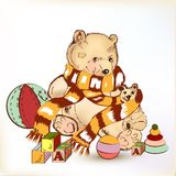 Cute hand drawn plush bear with childish toys for design Stock Photo