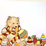 Cute hand drawn plush bear with  toys for design Royalty Free Stock Images