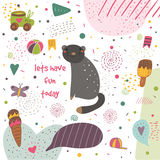 Cute hand drawn postcard with black cat Stock Images