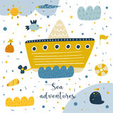 Cute hand drawn postcard with steam boat. Seagull, sun, wave, whale, flag, shell, island, life ring, polka dots. Sea adventures background for children. Baby Royalty Free Stock Photography