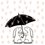 Cute hand drawn Rabbit under love rain. Background for wedding, save the date, Valentine`s Day, etc. Vector Illustration. Royalty Free Stock Photos