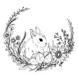 Cute hand drawn Rabbit with wreath of flowers and leafs Stock Photography