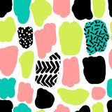 Cute hand drawn retro seamless repeating pattern with abstract shapes brush strokes in 80s and 90s style. For your decoration Stock Illustration