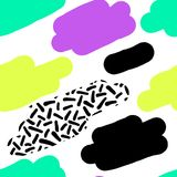 Cute hand drawn retro seamless repeating pattern with abstract shapes brush strokes in 80s and 90s style. For your decoration Royalty Free Illustration