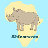 Cute hand drawn rhino. African rhino on the background of the continent Africa. Flat style Royalty Free Stock Photography