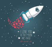 Cute hand drawn rocket with hearts for valentine's day Royalty Free Stock Images