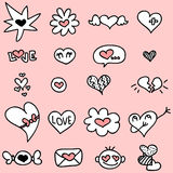 Cute hand drawn romantic icons stock illustration