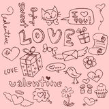 Cute hand drawn romantic things royalty free illustration