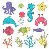 Cute Hand Drawn Sea Life Creatures Royalty Free Stock Photos