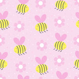 Cute hand drawn seamless pattern with Bees and flowers Royalty Free Stock Photo