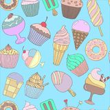 Cute hand drawn seamless pattern with different types of ice cream. Doodle texture with sweet desserts. Perfect background for cafe or restaurant menu stock illustration
