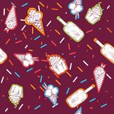 Cute hand drawn seamless pattern with different types of ice cream. Doodle texture with sweet desserts. Perfect vector illustration