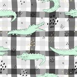 Cute hand drawn seamless pattern with funny crocodiles. vector illustration