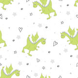 Cute hand drawn seamless pattern with funny dragons Royalty Free Stock Image