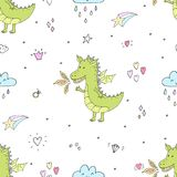 Cute hand drawn seamless pattern with funny dragons Royalty Free Stock Images