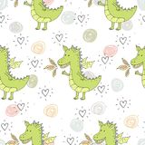 Cute hand drawn seamless pattern with funny dragons Royalty Free Stock Photo