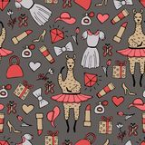 Cute hand-drawn seamless pattern of a lama-ballerina in a tutu. Hand-drawn gentle pictures Royalty Free Stock Photography
