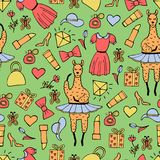 Cute hand-drawn seamless pattern of a lama-ballerina in a tutu. Hand-drawn gentle pictures Stock Photo