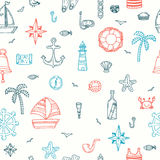 Cute hand drawn seamless pattern with nautical elements. Marine. Symbols. Nautical icons. Vector illustration Royalty Free Stock Photos