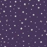 Cute hand drawn seamless pattern with night sky and stars Royalty Free Stock Photos