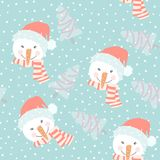 Cute hand drawn seamless pattern with snowmen and scarves. Cute hand drawn seamless pattern with snowmen, scarves. Christmas design. It can be used as wallpaper Stock Image