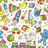 Cute hand-drawn seamless pattern with toys Stock Photography