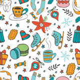 Cute hand drawn seamless pattern of winter related graphics Royalty Free Stock Image